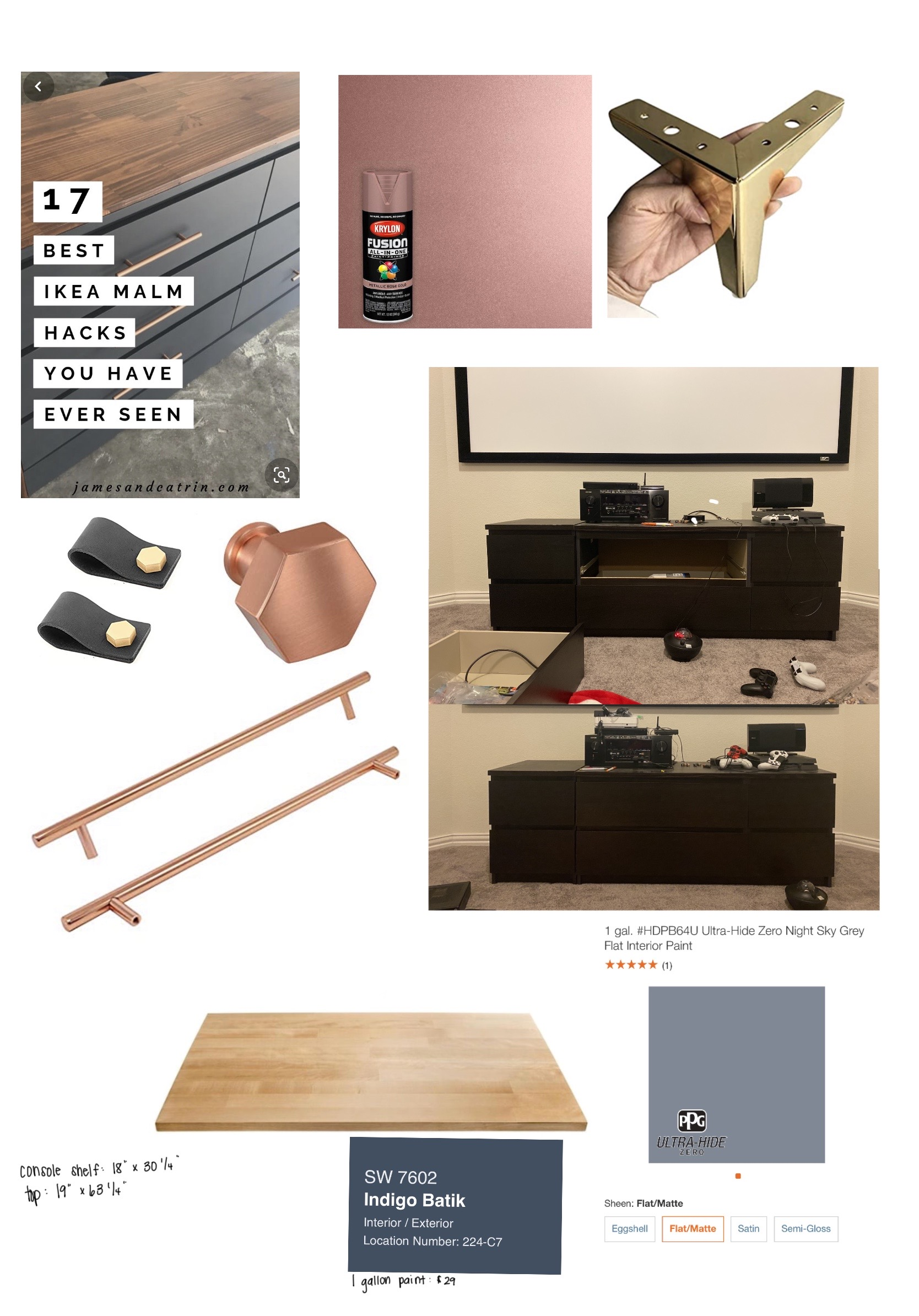 A mood board of the colors, hardware and finishes all together providing a vision for the end goal!