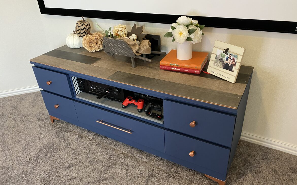 The completed media console made from two malm furniture pieces found at IKEA